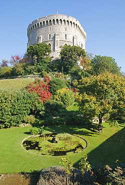 The Round Tower and gardens in Windsor Castle, home to Royalty for 900 years, Windsor, Berkshire, England, UK