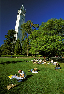 Art students sketching on the University of California at Berkeley campus in this famous district, once famous for its student radicalism, Berkeley, Northern California, California, United States of America (USA), North America