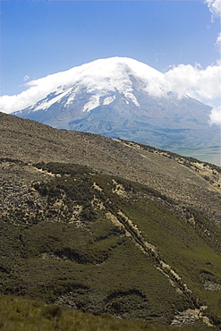 The west flank of 6310m Volcan Chimborazo, with its unique type of Andean high paramo (puna) made dry by the rain shadow, Chimborazo Province, Central Highlands, Ecuador, South America