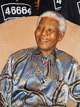 Nelson Mandela, president of South Africa between 1994 and 1999, and anti-apartheid hero, at an event on behalf of his 46664, his Robben Island prisoner number, HIV/AIDS campaign, Johannesburg, South Africa, Africa