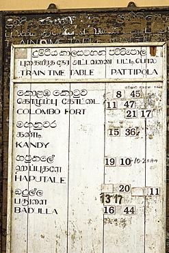 Timetable for the Colombo to Badulla train at Pattipola, highest railway station in Sri Lanka, 1892m, Pattipola, Sri Lanka, Asia