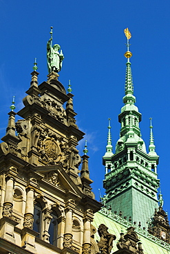Ornate neo-renaissance architecture of the Hamburg Rathaus (City Hall), opened 1886, Hamburg, Germany, Europe