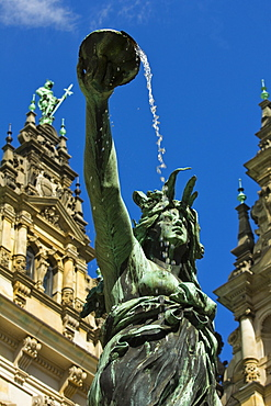 Neo-renaissance statue in a fountain at the Hamburg Rathaus (City Hall), opened 1886, Hamburg, Germany, Europe