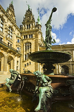 Neo-renaissance statues and fountain at the Hamburg Rathaus (City Hall), opened 1886, Hamburg, Germany, Europe