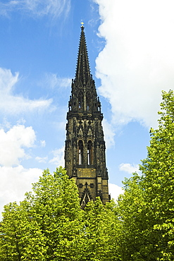 Spire of the ruined St. Nicholas Church, a marker for WWII bombers that devastated the city, now a war memorial, Hamburg, Germany, Europe