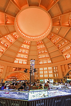 Jewellery displays under the 1937 Art Deco dome over the huge Central Market, city centre, Phnom Penh, Cambodia, Indochina, Southeast Asia, Asia