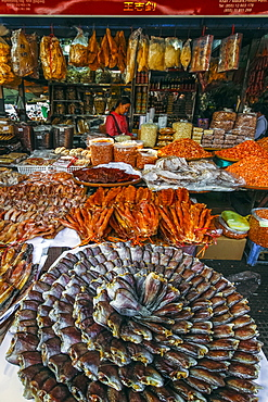 Large display of dried fish at this huge old market, Central Market, city centre, Phnom Penh, Cambodia, Indochina, Southeast Asia, Asia