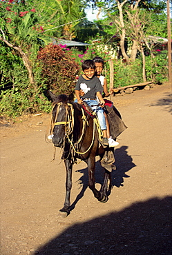 Two children on horseback at Balgue on the slopes of Volcan Maderas in the east of the island of Omotepe, Lake Nicaragua, Nicaragua, Central America