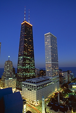 The John Hancock Center on left, Water Tower Place on right, and the Old Water Tower in low centre, Near North of downtown, Chicago, Illinois, United States of America (USA), North America