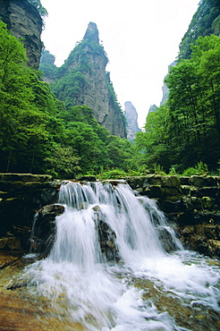 Spectacular limestone outcrops, forests and waterfalls of Zhangjiajie Forest Park in the Wulingyuan Scenic Area, Hunan Province, China
