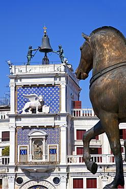 Torre dell'Orologio from St. Mark's Basilica (Basilica di San Marco), Venice, UNESCO World Heritage Site, Veneto, Italy, Europe