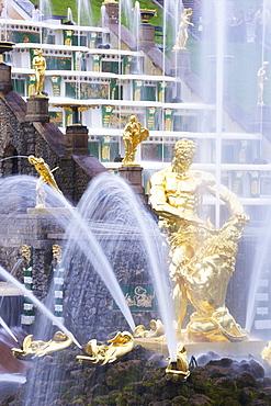 Samson fountain, Peterhof Grand Cascade, Petrodvorets, St. Petersburg, Russia, Europe