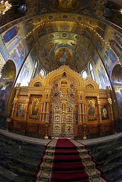Iconostasis and Interior mosaics, Church of the Saviour on Spilled Blood (Church of Resurrection), UNESCO World Heritage Site, St. Petersburg, Russia, Europe