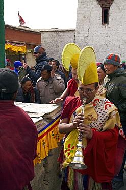 Buddhist monks at religious ceremony, Namgyal Tsemo Gompa, Leh, Ladakh, India, Asia