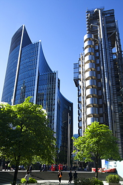 Lloyds and Willis buildings, financial district, City of London, England, United Kingdom, Europe