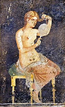 Woman combing her hair in mirror, Villa Ariadne, Pompeii, UNESCO World Heritage Site, Campania, Neapolitan Riviera, Italy, Europe