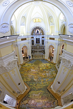 Church of San Michele Arcangelo with painted majolica floor by Leonardo Chiaiese dating from 1761, Anacapri, Isle of Capri, Campania, Italy, Europe