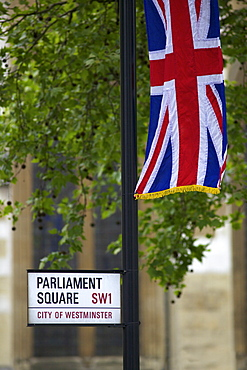 Union jack flag flies in Parliament Square, outside Westminster Abbey, during the marriage of Prince William to Kate Middleton, 29th April 2011, London, England, United Kingdom, Europe