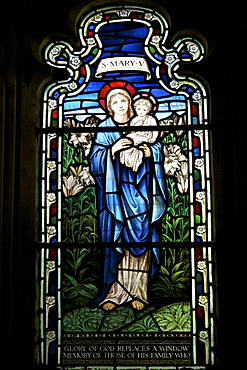 Stained glass window of St. Mary, by Stephen Coyne, Morris and Co, dating from 1924, Cloisters, Gloucester Cathedral, Gloucester, Gloucestershire, England, United Kingdom, Europe