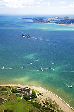 Aerial view of yachts racing in Cowes Week on the Solent, Isle of Wight, England, United Kingdom, Europe