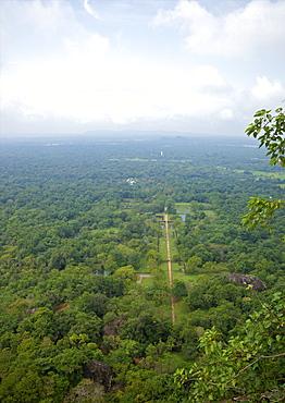 View of water gardens from summit of Sigiriya Lion Rock Fortress, UNESCO World Heritage Site,  Sigiriya, Sri Lanka, Asia