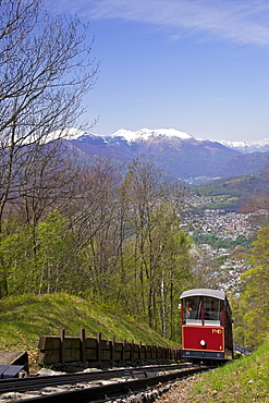 View of Monte Bre Funicular, Lake Lugano, Lugano, Ticino, Switzerland, Europe