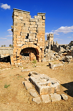 Ruin of a Byzantine tower at the archeological site of Jerada, Dead Cities, Syria, Middle East, West Asia