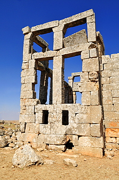 Byzantine ruin of Qasr al-Banat monastery at the archeological site of Dana, Dead Cities, Syria, Middle East, West Asia