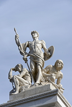 """Marble group """"La Forza"""" by Augusto Rivalta on the Vittoriano in Rome, Italy, Europe"""