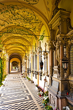 Colonnade, cloister, Mirogoj Cemetery, Zagreb, Croatia, Europe