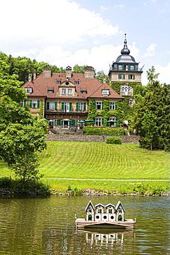 Schlosshotel Lerbach with duck house, Bergisch Gladbach, Bergisches Land region, North Rhine-Westphalia, Germany, Europe