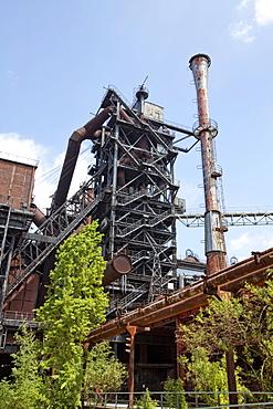 Old furnace, Landschaftspark Duisburg-Nord landscape park, Duisburg, North Rhine-Westphalia, Germany, Europe