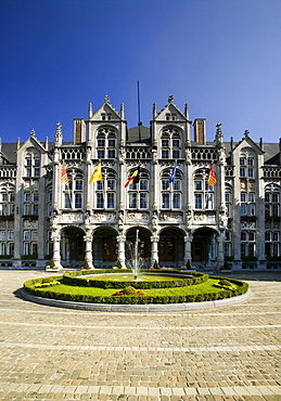 Place Saint-Lambert, Palais des Princes-Eveques, the Episcopal Palace in Liege, the largest Gothic civilian building in the world, now provincial palace and court, Wallonia, Belgium, Europe