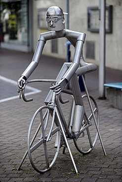 Bicycle sculpture in Bad Marienberg, Westerwald, Rhineland-Palatinate, Germany, Europe