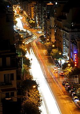 Night shot, traffic, view on the main road Egnatia, Thessaloniki, Chalkidiki, Macedonia, Greece, Europe