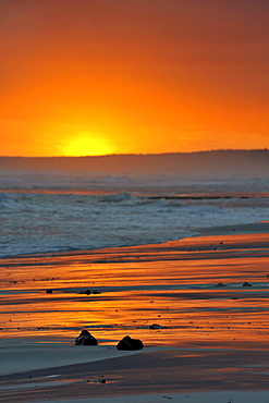 Sunset on the beach, Menorca, Balearic Islands, Spain, Europe