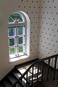 Light passing through a lattice window onto a landing with old wooden railing, renovated, Kurhaus Kleve art museum, Kleve, Niederrhein region, North Rhine-Westphalia, Germany, Europe