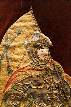 Knight in armor bearing flag, elaborate embroidery on a chasuble, historical liturgical garment, Stiftsmuseum Museum Xanten monastery museum, Xanten, Niederrhein region, North Rhine-Westphalia, Germany, Europe