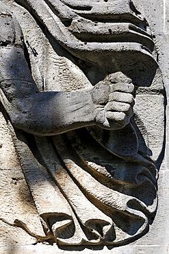 Clenched fist, torchbearer, monumental stone sculpture from the Nazi era, former NS-Ordensburg Vogelsang, International Place in Eifel National Park, Schleiden-Gemuend, North Rhine-Westphalia, Germany, Europe