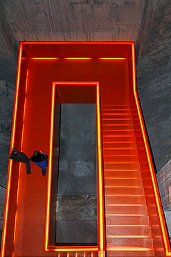 Illuminated staircase in the former coal washing plant, new Ruhr Museum, UNESCO World Heritage Site Zeche Zollverein, Essen, Ruhrgebiet region, North Rhine-Westphalia, Germany, Europe