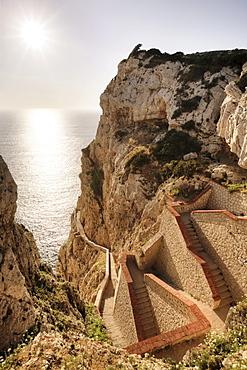 652 steps leading down to the stalactite cave Grotta di Nettuno, Neptune's Grotto, Sardinia, Italy, Europe