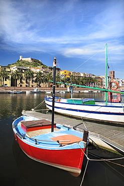 Fishing boat on the Temo River in Bosa, Oristano Province, Sardinia, Italy, Europe