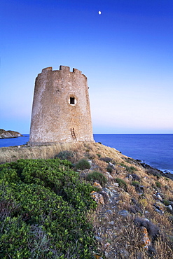 Moonrise over the Torre di Piscinni tower, Costa del Sud, Sulcis Province, Sardinia, Italy, Europe