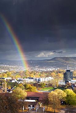 Rainbow over Killesbergpark, Stuttgart, Baden-Wuerttemberg, Germany, Europe
