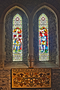 Window of the left side chapel, St. Cainnech Cathedral or St. Canice's Cathedral, Kilkenny, County Kilkenny, Ireland, British Isles, Europe