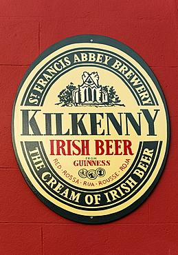 Emblem of St. Francis Abbey Brewery, Irish beer, Kilkenny, County Kilkenny, Ireland, British Isles, Europe