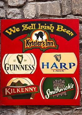 Plaque with brands of Irish beer, restaurant and pub, Kyteler's Inn, Kilkenny, County Kilkenny, Ireland, British Isles, Europe