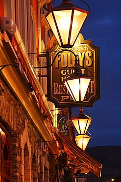 Restaurant sign and lanterns, Kenmare, Ring of Kerry, County Kerry, Ireland, British Isles, Europe