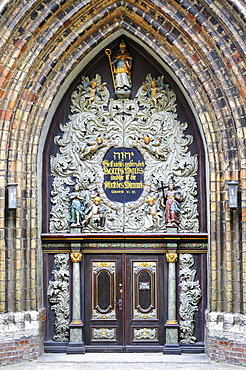Main portal of St. Nikolai church, Hanseatic City of Stralsund, Mecklenburg-Western Pomerania, Germany, Europe