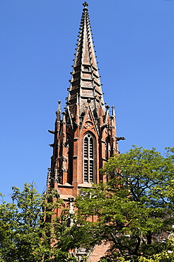 Tower of the Neo-Gothic Christuskirche church, consecrated in 1864, Hannover, Lower Saxony, Germany, Europe